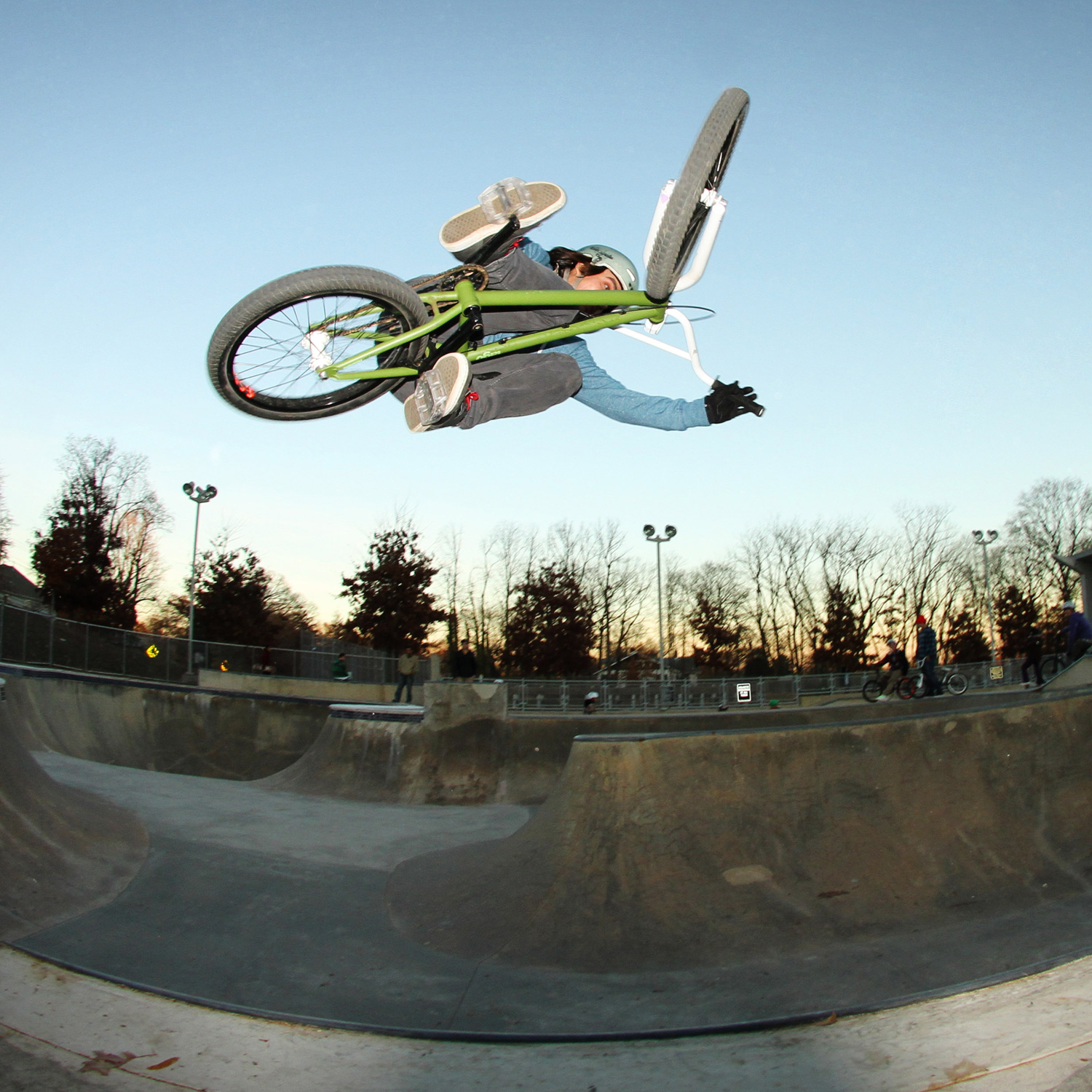 Thad Allender airs the bowl at the Powhatan Skatepark